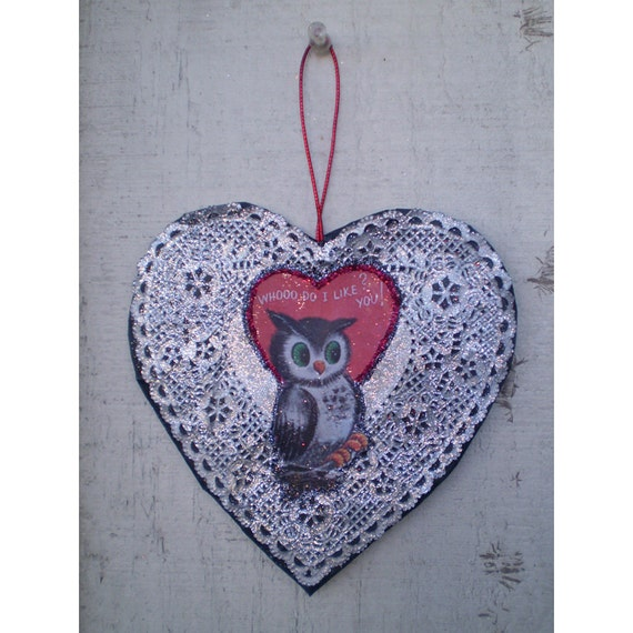 Valentines Day decoration retro vintage style owl heart ornament holiday home decor