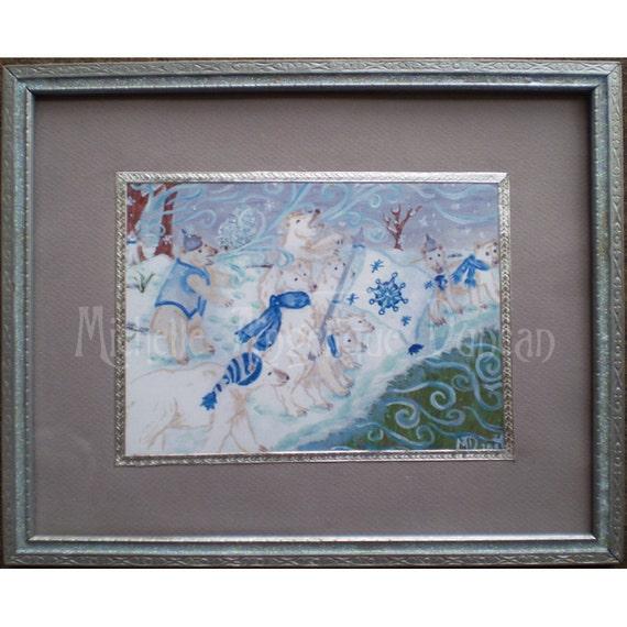 Framed 5x7 print original acrylic painting polar bears Winter Solstice snow art animal print