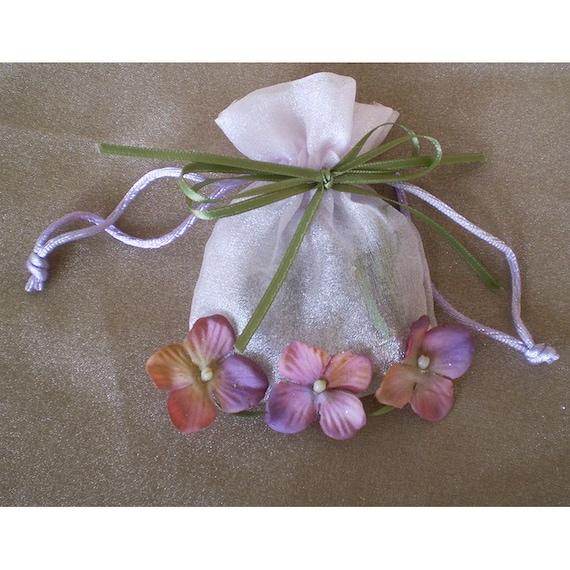 Faerie floral pouch drawstring bag fairy flowers enchantment magic children's gift