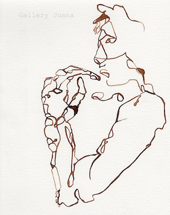 Line Drawing Etsy : Walnut ink line drawing figure by galleryjuana on etsy