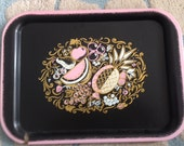 Vintage 1940s 1950s MID CENTURY Kitschy Serving Tray in Black and Pink ADORABLE