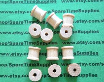 """SP4000WW50  Wood Spools - 1/2"""" tall x 1/2"""" wide w/ 1/8"""" hole - 50 pcs"""