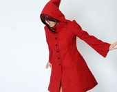 WINTER SALE - Red hooded Coat with tall collar - Red winter coat, womens coat - Goblin hood coat - Size S-M - Malam