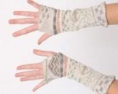 Beige knit armwarmers - green orange pattern - winter armwarmers - Malam