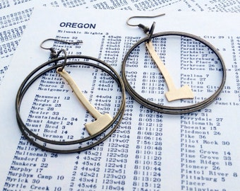 the axes - earrings  timbers brass hoops