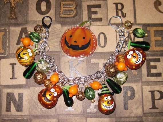 Jack O' Lantern Charm Bracelet Halloween Pumpkin Jewelry Vintage Folk Art Style Old Fashioned JOL'S Charms & Beads Eclectic Statement Piece