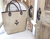 Large Reusable Jute Burlap Brown Trim Shopping Tote Bag French Bee and Crown Design