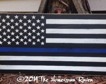 Primitive Blue Line Flag Wood Sign Plaque Law Enforcement Police Officer Corrections LE Cop