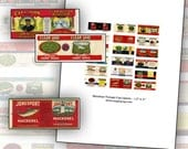 Miniature Dollhouse Canned Food labels props 1:12 scale 1/12 dollhouse digital collage sheet