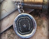 Star Necklace ~ Watch Over The One I Love - Star Wax Seal Pendant Necklace - Star Necklace  F110