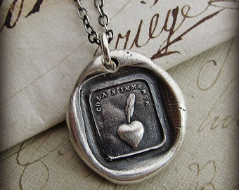 wax seal necklace My Heart is Sincere - Heart & Quill Pen - It comes from the heart - IS335