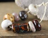 Handmade stoneware ceramic beads Earthy Assortment (8)