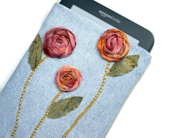 Eco Friendly E-Reader Sleeve Padded Kindle Cover Repurposed Jeans with Sunset Roses