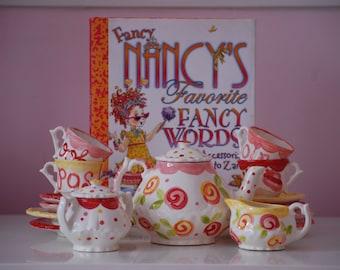 Fancy Nancy Inspired Tea Set Personalized Little Girl's Child's Tea Set & 4 Tea Cups ...Ooh la la...hats, boas, shoes, tiaras and more