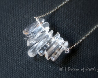 Sterling Silver and Crystal Quartz Necklace - spikes, fan, chips, bib, statement necklace