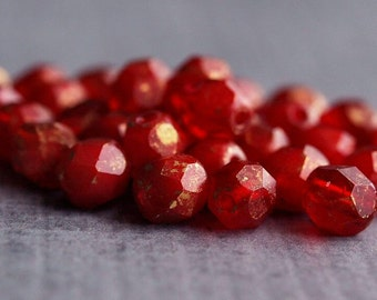 Oxblood Marbled Gold Czech Glass Bead 6mm Faceted Round : 25 pc