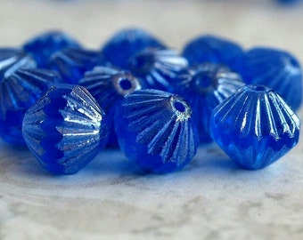 Czech Glass Bead Sapphire Luster 9mm Fluted Bead :  12 pc Sapphire 9mm Bicone