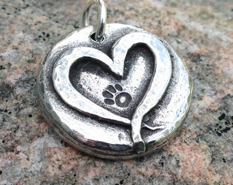 Paw Print on my Heart Pendant, Heart with Pawprint Charm, Dog and Cat Paw Print, Animal Lover Gift, Groomer Gift