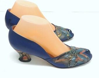 Brunella 80s dose 50s Blue Mesh & Leather Low Heel Pumps Sz 7.5M French Heels Peep Toe Reptile Print