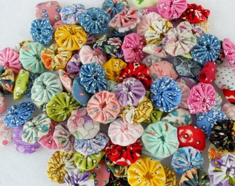 Reproduction Fabric Flowers YoYo Bobby Pin Button 40