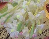 Vintage Millinery / White Cotton Linen Lilacs / Wedding Favors / Five Bouquets