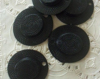 Vintage Old Stock / Plastic Straw Hats / Black / One Dozen / Cupcake Toppers