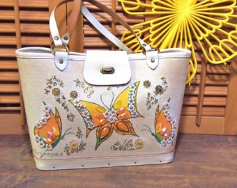 Free Shipping Mariposas Vintage Enid Collins of Texas Purse Bucket Canvas and Leather Bag Butterflies in yellow and gold