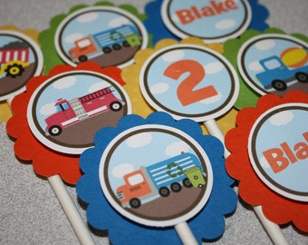 Big Trucks Cupcake Toppers / Transportation Cupcake Toppers / Trucks / Any Color