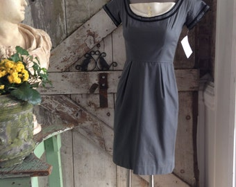 1950s grey wiggle dress 50s classic hourglass dress size x small Vintage Maggi Stover