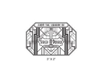 Art Deco Geometric Style Personalized Ex Libris Bookplate Rubber Stamp N14