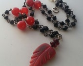 Leaf Necklace with Carnelian, Jet, Horn, and Glass