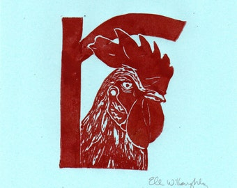 Rooster R Monogram Linocut - Alphabet Typographic Lino Block Print with Animal, Bird, R is for Rooster
