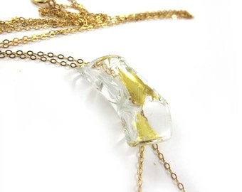 SariGlassman - Lampwork Necklace from the broken glass from a Jewish Wedding - long Necklace - 22k gold SRA