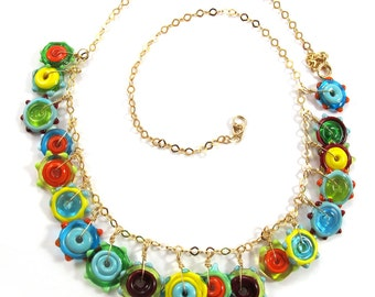 Lampwork necklace, Handmade Glass necklace, Handcrafted glass necklace, funky flowers,14k Gold-Filled SRA
