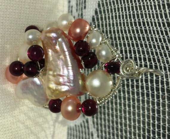 Wire wrapped Sterling silver one-of-a-kind Garnet Apricot Pearl Pendant