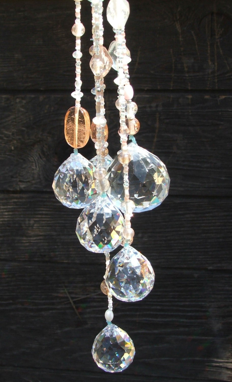 Hanging crystal tree ornaments set of 7 outdoor rustic for Outside hanging ornaments