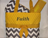 Personalized Quilted Diaper Bag Set Yellow and Gray Chevron zig zag - MONOGRAMMED FREE - By Girliebows