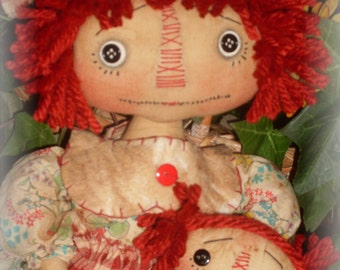 Primitive Raggedy Ann w/baby ePATTERN INSTANT DOWNLOAD #158 Hafair Faap
