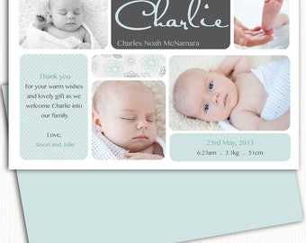 Photo Birth Announcement/Boy Baby Announcement/Birth Announcement/Boy Birth Announcement/Baby Thank you card/Print yourself/free background