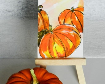 ACEO Fall Pumpkins, Original Watercolor Painting, Orange, Tiny Art, Halloween, Thanksgiving, Punkins, Fall Art, Harvest Art, Fall Room Decor