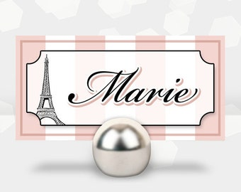 Paris Themed Party Name Cards - Birthday Shower Cocktail - Customized - DIY Printable