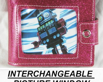 Vinyl Wallet -  Pink Glitter -  With Changeable Picture Window