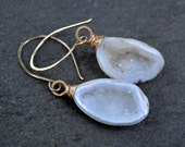 Tiny Baby Geodes on 14kt Gold Fill Handmade Earwires