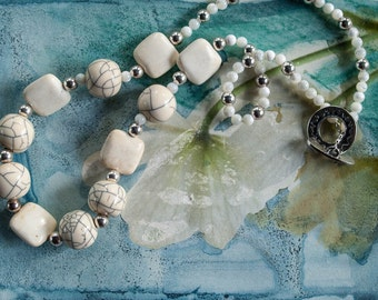 Off-white beaded necklace   IMKE //  resin crackle beads  white turquoise beads  mother of pearls  sterling silver