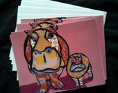 Hungry Hungry Hippo Notecard Set from Original Painting Collage