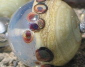 Handmade Glass Lampwork Beads, Ivory/Milky/Raku round