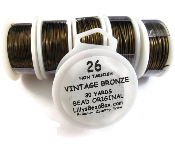 Vintage Bronze Plated Wire - 26 Gauge Wire Wrapping Jewelry Supplies, Non Tarnish Wire