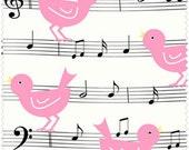 NEW Henry Glass, Girly Girl, Musical Pink Birdies on White, yard