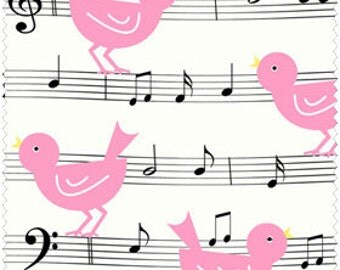 Henry Glass, Girly Girl, Musical Pink Birdies on White, yard