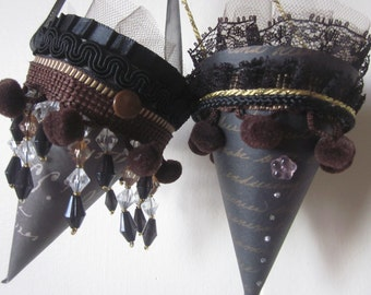 Two Parisian tussie mussie mini paper cones french text one of a kind petite chocolate brown